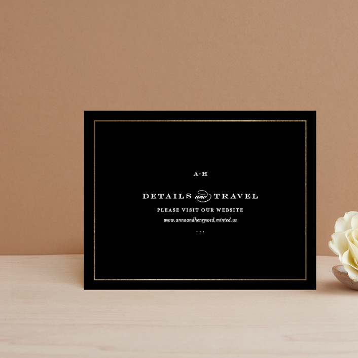 """Field"" - Simple, Elegant Foil-pressed Direction Cards in Gold by Toast & Laurel."