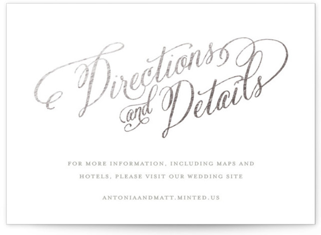 This is a landscape bold and typographic, classic and formal, blue Direction Cards by two thirteen studio called Traditional Royalty with Foil Pressed printing on Signature in Card Flat Card format. A design fit for royalty, this classic flourished script ...