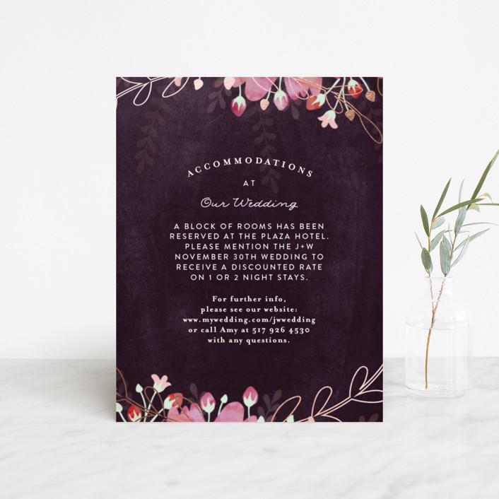 """Enchanting Plum"" - Floral & Botanical Foil-pressed Direction Cards in Deep Plum by Phrosne Ras."