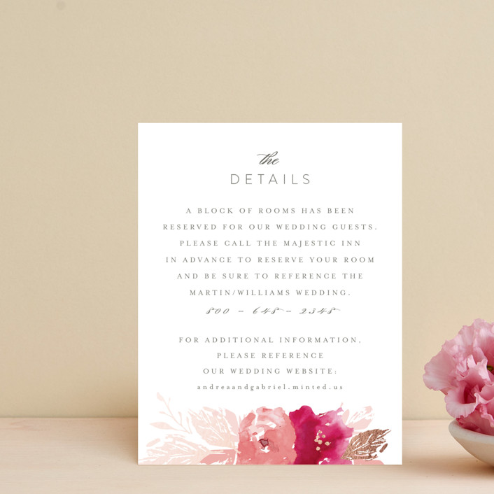 """""""painted bouquet"""" - Foil-pressed Direction Cards in Rose by Karidy Walker."""
