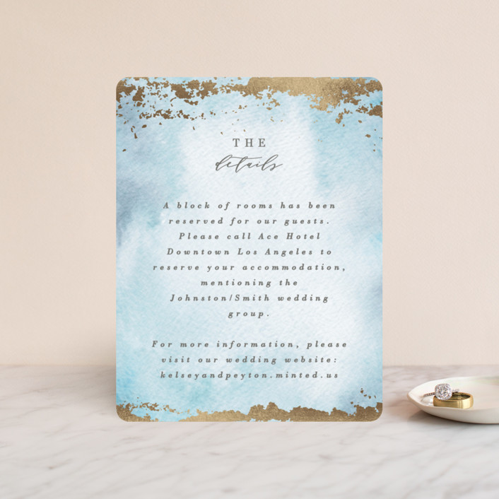 """""""Ethereal Wash"""" - Bohemian Foil-pressed Direction Cards in Ocean by Everett Paper Goods."""