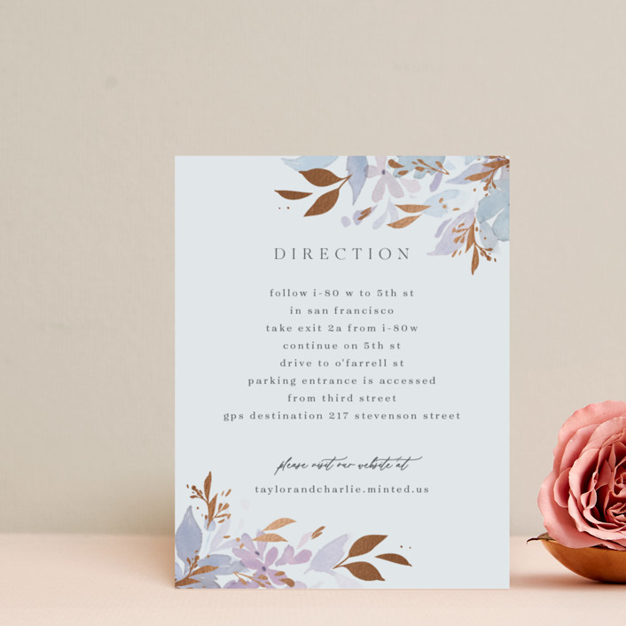 """Frosted Blossoms"" - Foil-pressed Direction Cards in Frost by Four Wet Feet Studio."