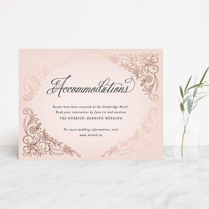 """""""Elegant Lace"""" - Elegant, Classical Foil-pressed Direction Cards in Blush by Hooray Creative."""