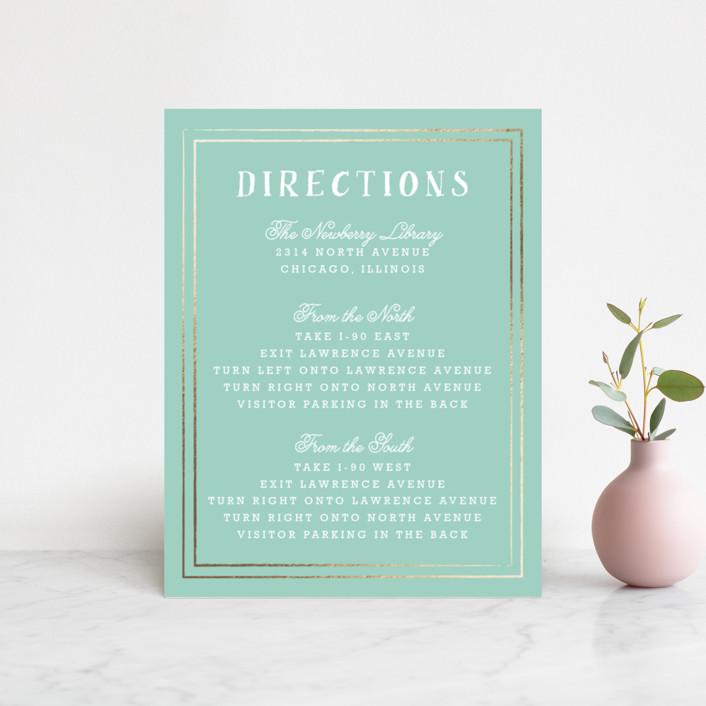 """Floral Chalkboard"" - Rustic Foil-pressed Direction Cards in Aqua by Lehan Veenker."