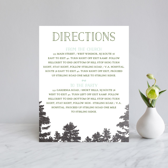 """""""Mountain View"""" - Rustic Foil-pressed Direction Cards in Pine Green by Ariel Rutland."""