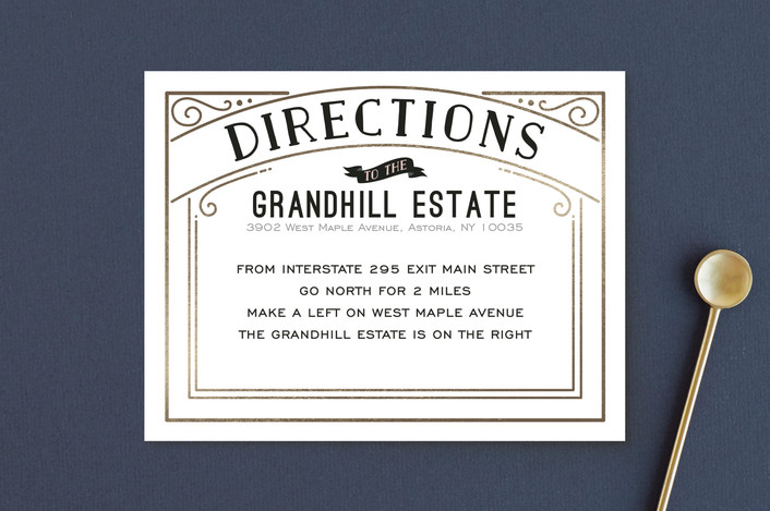 """""""Romantic Revelry"""" - Bold typographic, Vintage Foil-pressed Direction Cards in Blush by GeekInk Design."""