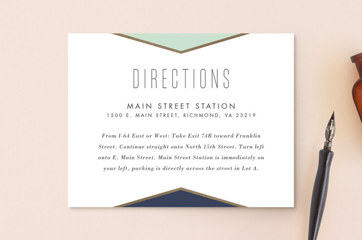 """Minimal Mod"" - Modern Foil-pressed Direction Cards in Mint by carly reed walker."