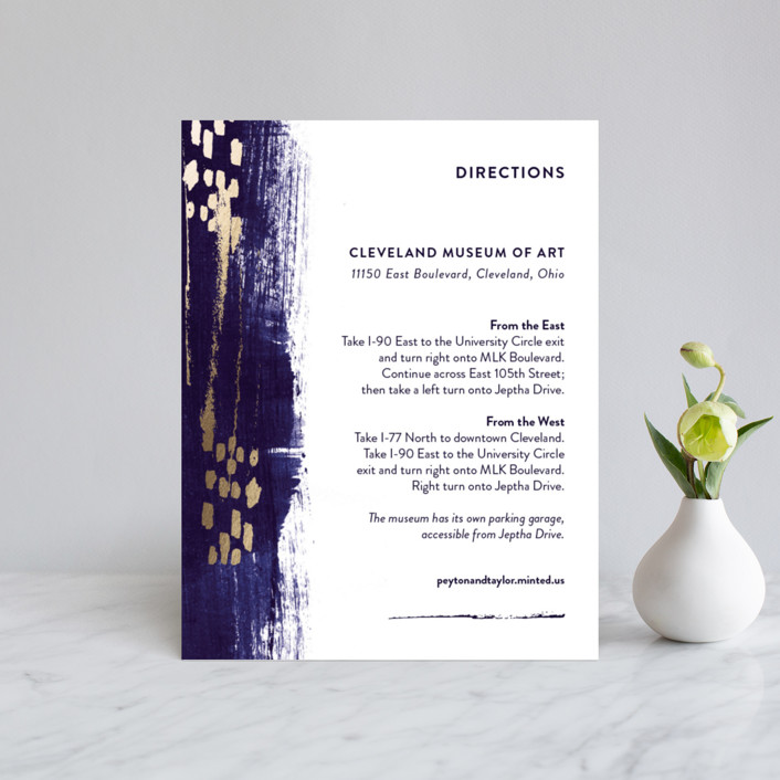 """Painted Canvas"" - Modern Foil-pressed Direction Cards in Sapphire by Robin Ott."