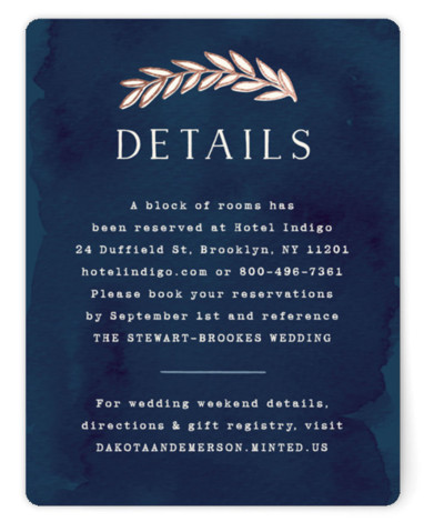 This is a portrait floral, hand drawn, metallic, rustic, blue Direction Cards by Hooray Creative called Rustic Wreath with Foil Pressed printing on Signature in Card Flat Card format. A rustic wreath in an autumn color palette – perfect for ...
