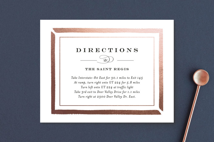"""""""Brushed Border"""" - Foil-pressed Direction Cards in Rose Gold by Carolyn MacLaren."""