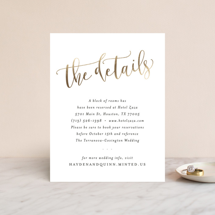 """""""Celebration Script"""" - Hand Drawn, Elegant Foil-pressed Direction Cards in Gold by Hooray Creative."""
