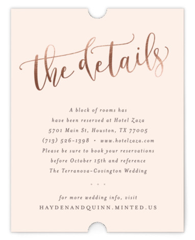This is a portrait classical, elegant, hand drawn, metallic, modern, whimsical, pink Direction Cards by Hooray Creative called Celebration Script with Foil Pressed printing on Signature in Card Flat Card format. Gold script and elegant type.