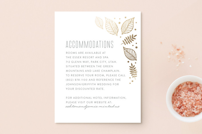 """Eternal Autumn"" - Foil-pressed Direction Cards in Pomegranate by Smudge Design."