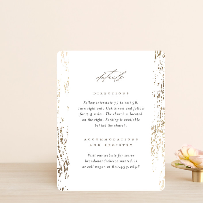 """""""Rustic Dream"""" - Foil-pressed Direction Cards in Quartz by Beth Murphy."""