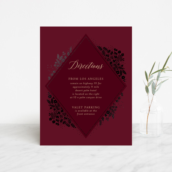 """Millefleur"" - Foil-pressed Direction Cards in Burgundy by My Splendid Summer."