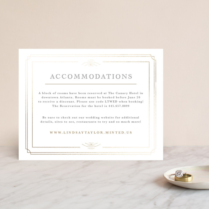 """""""Gilded Gala"""" - Foil-pressed Direction Cards in Mist by Kristen Smith."""