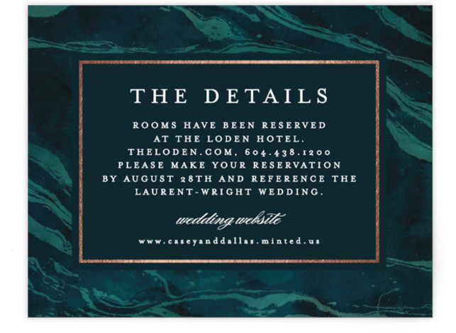 This is a green, rosegold Direction Cards by Kelly Schmidt called Shimmering Waves with Foil Pressed printing on Signature in Card Flat Card format. The blue marbled effect hints at waves, perfect for a lake, coastal or island wedding