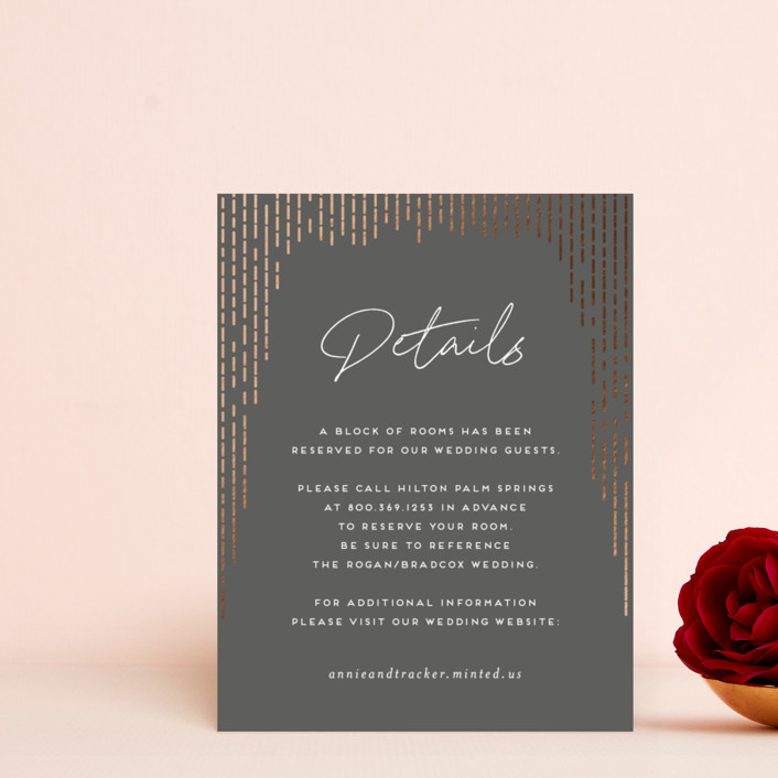 """""""Old Hollywood"""" - Modern Foil-pressed Direction Cards in Ivory by Amy Payne."""