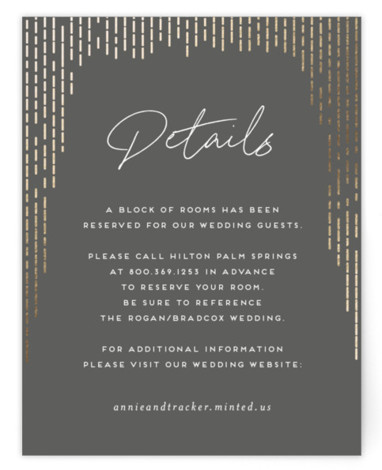 This is a portrait modern, white Direction Cards by Amy Payne called Old Hollywood with Foil Pressed printing on Signature in Card Flat Card format. This wedding invitation features a photo background and glamorous gold foil touches reminiscent of old ...