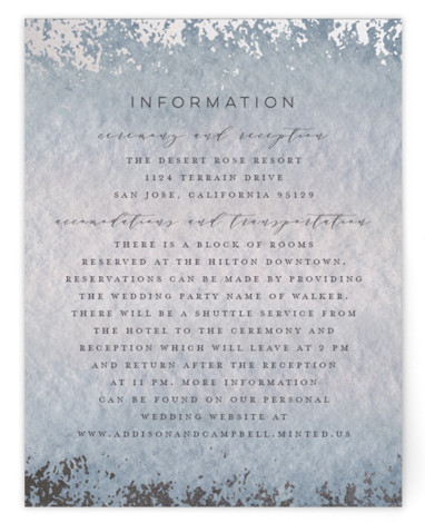 This is a blue, silver Direction Cards by Grace Kreinbrink called Mood with Foil Pressed printing on Signature in Card Flat Card format. Delicate, soft, classic wedding invitation featuring muted and moody watercolor backdrop and a soft overlay of abstract ...
