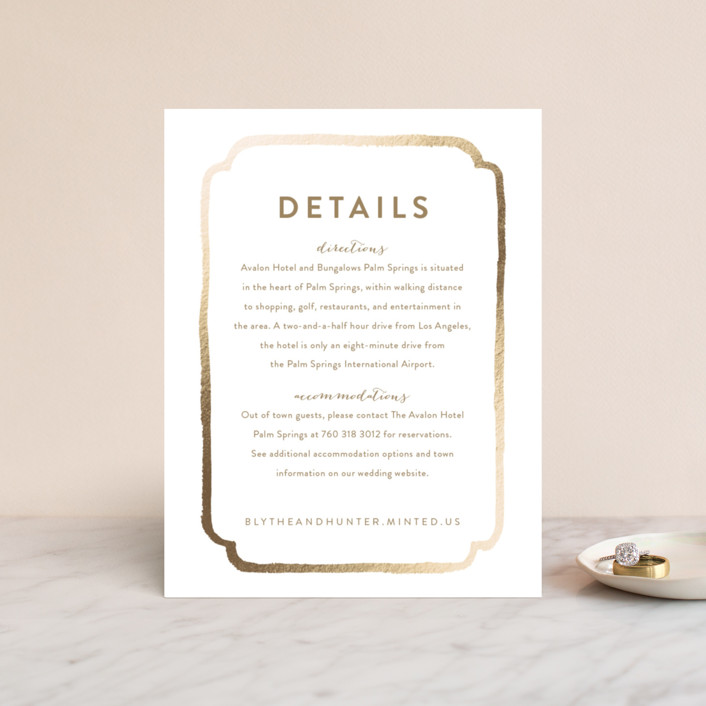 """""""Avalon"""" - Modern Foil-pressed Direction Cards in Champagne by Smudge Design."""