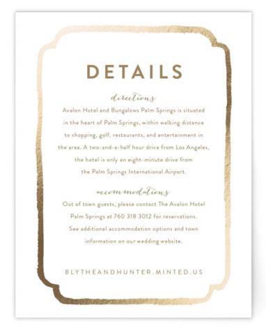 This is a bold and typographic, modern, brown, gold Direction Cards by Smudge Design called Avalon with Foil Pressed printing on Signature in Card Flat Card format. This hand painted watercolor ampersand creates the perfect balance of modern minimalism and ...