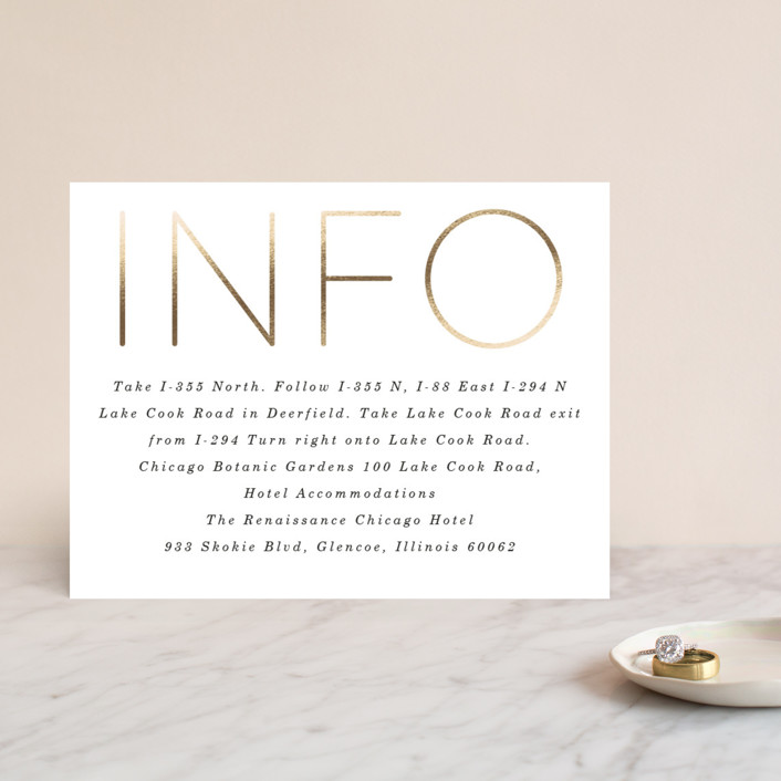 """""""Pencil Thin"""" - Foil-pressed Direction Cards in Ivory by Baumbirdy."""