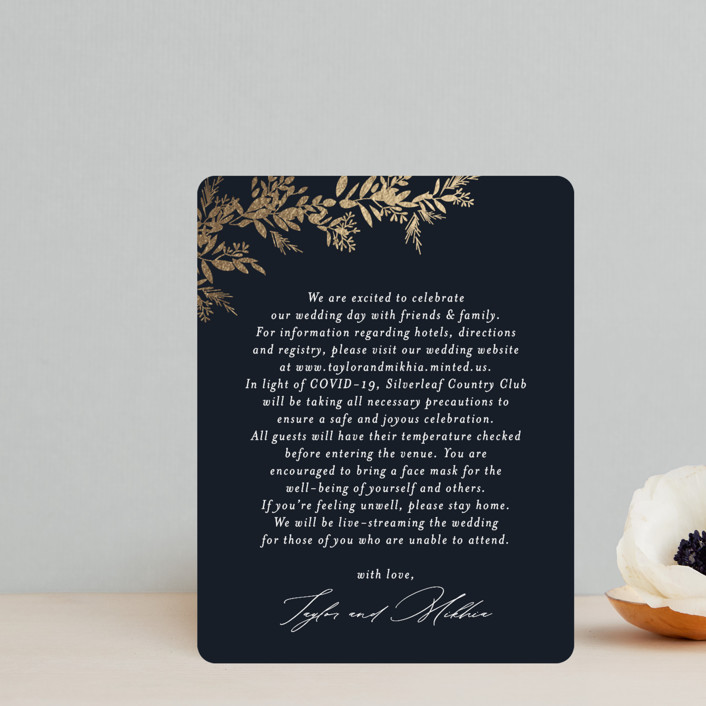 """""""etched wreath"""" - Foil-pressed Direction Cards in Inkwell by Jennifer Postorino."""