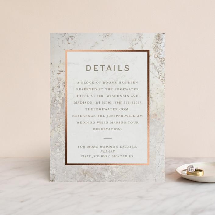 """Juniper"" - Modern Foil-pressed Direction Cards in Cream by Basil Design Studio."