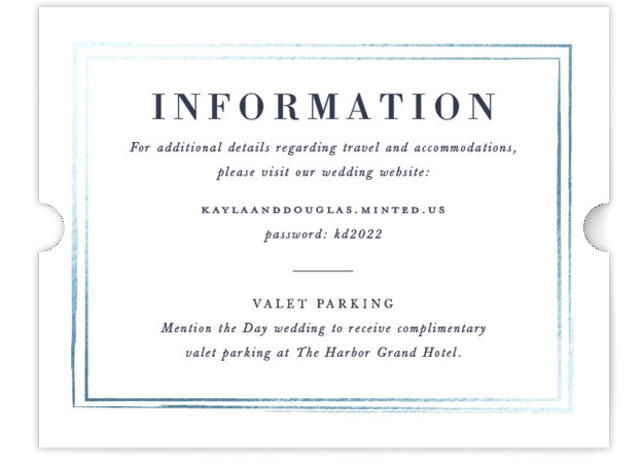 This is a blue Direction Cards by Sarah Brown called Subtle with Foil Pressed printing on Signature in Card Flat Card format. This elegant wedding invitation features a border in pearl white foil a subtle accent that would pair perfectly ...
