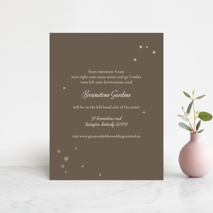 """""""Fireflies"""" - Foil-pressed Direction Cards in Zuni Brown by Paige Rothhaar."""