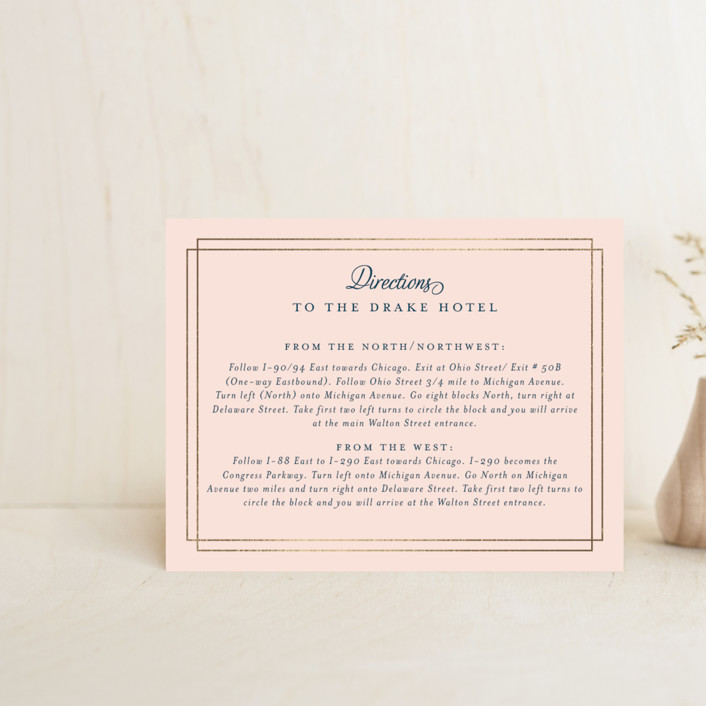 """""""Chic Gala"""" - Foil-pressed Direction Cards in Cotton Candy by Kimberly FitzSimons."""