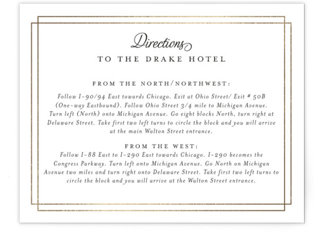 This is a landscape classical, traditional, black and white Direction Cards by Kimberly FitzSimons called Chic Gala with Foil Pressed printing on Signature in Card Flat Card format. A traditional wedding invitation with clean typography that is easily customizable.