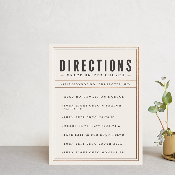"""Classic Type"" - Simple, Bold typographic Foil-pressed Direction Cards in Mocha by Melissa Egan of Pistols."