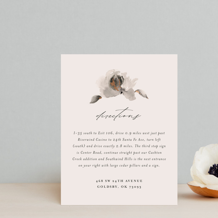 """""""Ophelia"""" - Rustic Foil-pressed Direction Cards in Cream by Lori Wemple."""