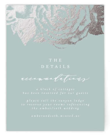 This is a botanical, green, silver Direction Cards by AK Graphics called Fleur with Foil Pressed printing on Signature in Card Flat Card format. A beautiful wedding announcement featuring antique gilded roses.