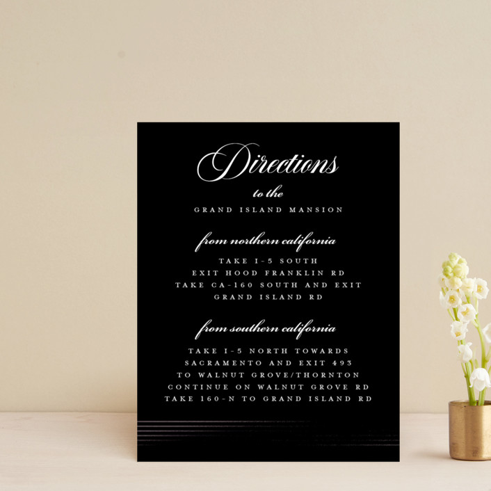 """Classic Stripes"" - Foil-pressed Direction Cards in Tuxedo by Christie Garcia."