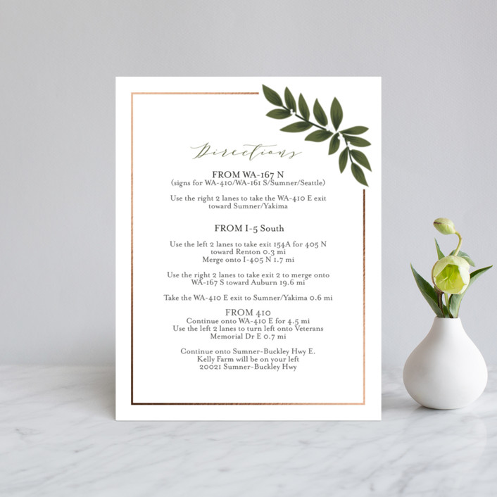 """Laurels Frame"" - Foil-pressed Direction Cards in Greenery by Itsy Belle Studio."