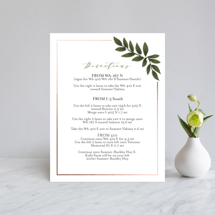 """""""Laurels Frame"""" - Foil-pressed Direction Cards in Greenery by Itsy Belle Studio."""