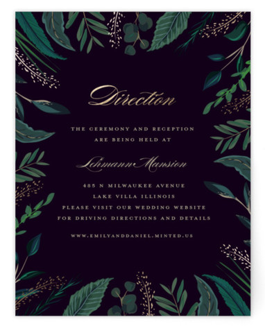This is a botanical, painterly, gold, green Direction Cards by Susan Moyal called Emerald Leaves with Foil Pressed printing on Signature in Card Flat Card format. This wedding invitation design features a frame of emerald colored greenery