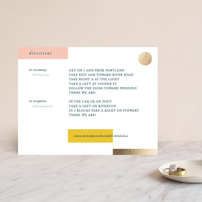 """""""Paradigm Pair"""" - Modern Foil-pressed Direction Cards in Butterscotch by CeCe Fields."""