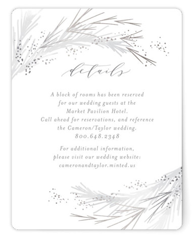This is a bohemian, grey, silver Direction Cards by Kristie Kern called Crush with Foil Pressed printing on Signature in Card Flat Card format. A lovely soft frost and gold foil pines surround your favorite photo.