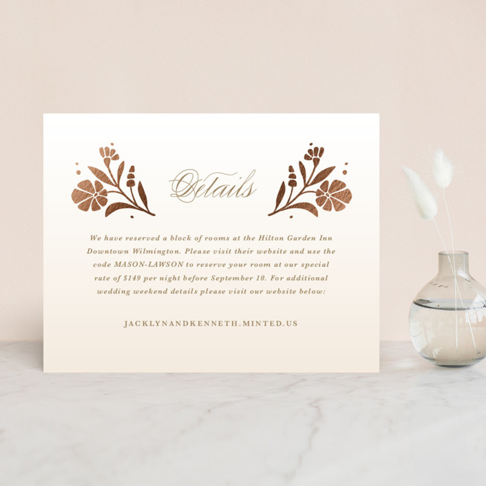 """""""Jasmine"""" - Foil-pressed Direction Cards in Golden Hour by Kristen Smith."""