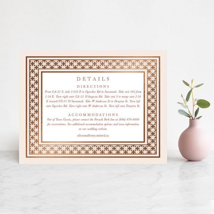"""""""House of York"""" - Foil-pressed Direction Cards in Rosewood by Christie Kelly."""