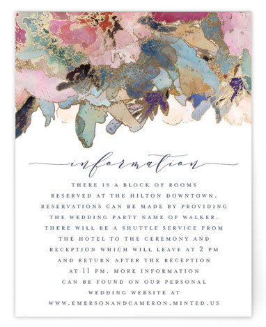 This is a blue, pink Direction Cards by Grace Kreinbrink called Gilded Drape with Foil Pressed printing on Signature in Card Flat Card format. Hand painted watercolor wedding invitation featuring modern florals and gilded accents.