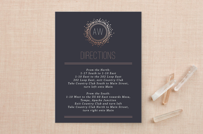 """""""Halo"""" - Modern Foil-pressed Direction Cards in Galaxy by Design Lotus."""