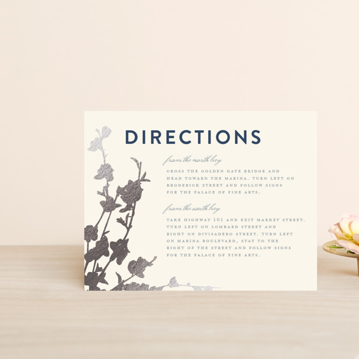 """In Bloom"" - Foil-pressed Direction Cards in Graphite by Three Kisses Studio."