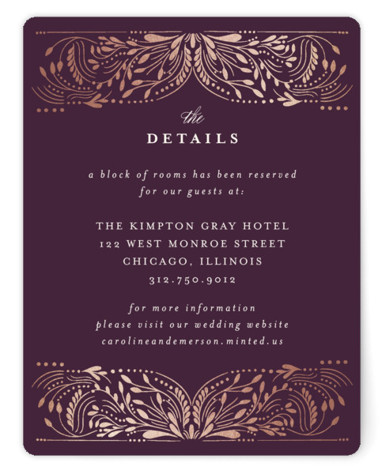 This is a botanical, purple, rosegold Direction Cards by Angela Marzuki called Bravura with Foil Pressed printing on Signature in Card Flat Card format. A hand drawn, intricate frame circles around the wedding details