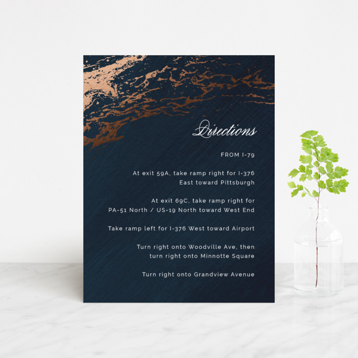 """Classic Splash"" - Foil-pressed Direction Cards in Navy by kbecca."
