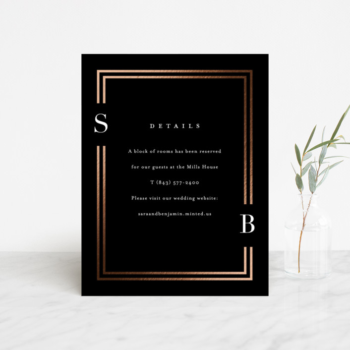 """Side by Side"" - Foil-pressed Direction Cards in Tuxedo by Carolyn MacLaren."